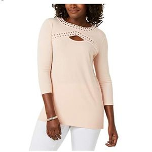 JM Collection Womens Studded Cut Out Blouse Pink